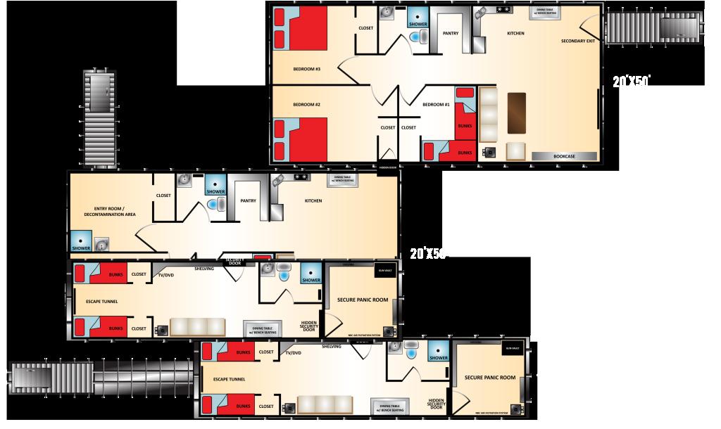 Underground shelter floor plans gurus floor for Underground house blueprints